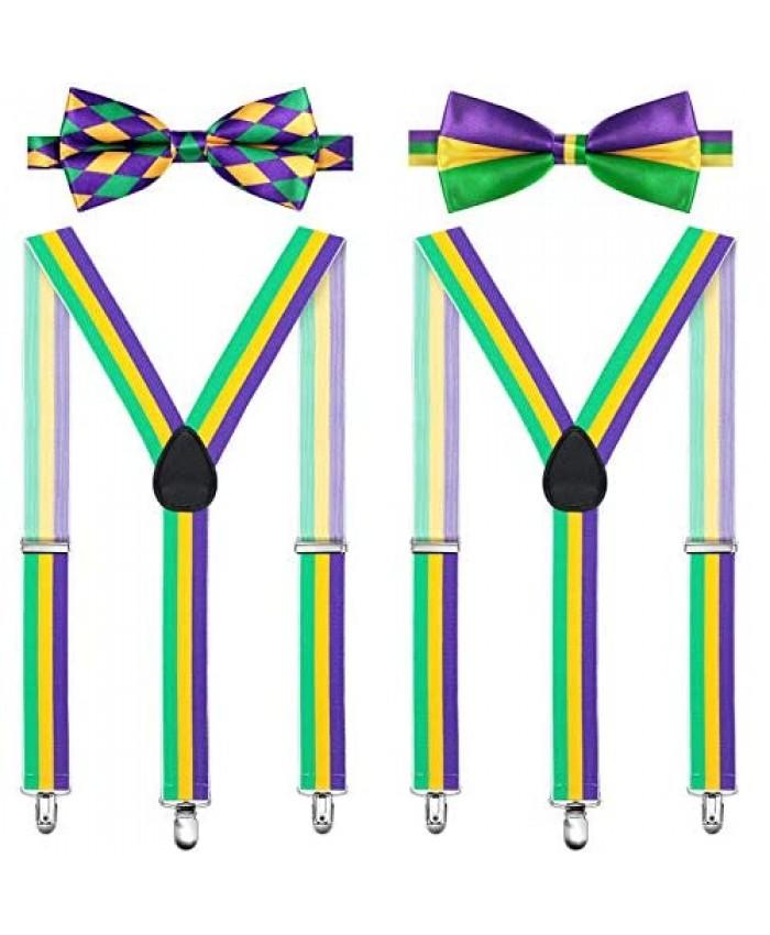4 Pieces Mardi Gras Suspender Bow Tie Set Clip Y Shape Braces Suspenders and Bowtie Adjustable Costume Suspenders Shoulder Straps for Mardi Gras Carnival Cosplay Party