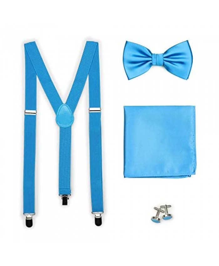 Bows-N-Ties Men's Set of Matching Solid Color Suspender Bow Tie Pocket Square Cufflinks Adjustable Length