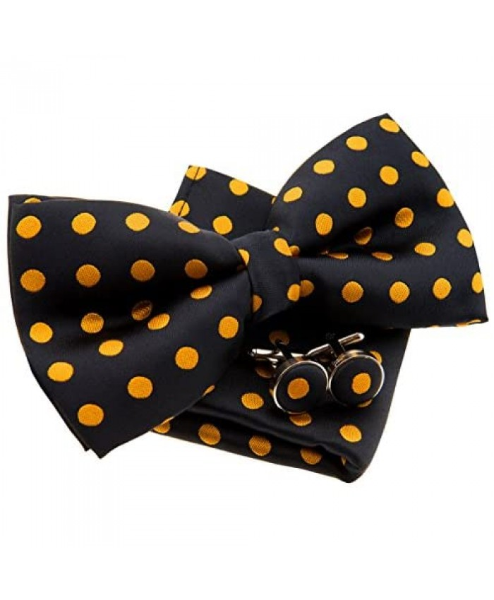 Classic Polka Dots Woven Pre-tied Bow Tie (5) w/Pocket Square & Cufflinks Gift Set