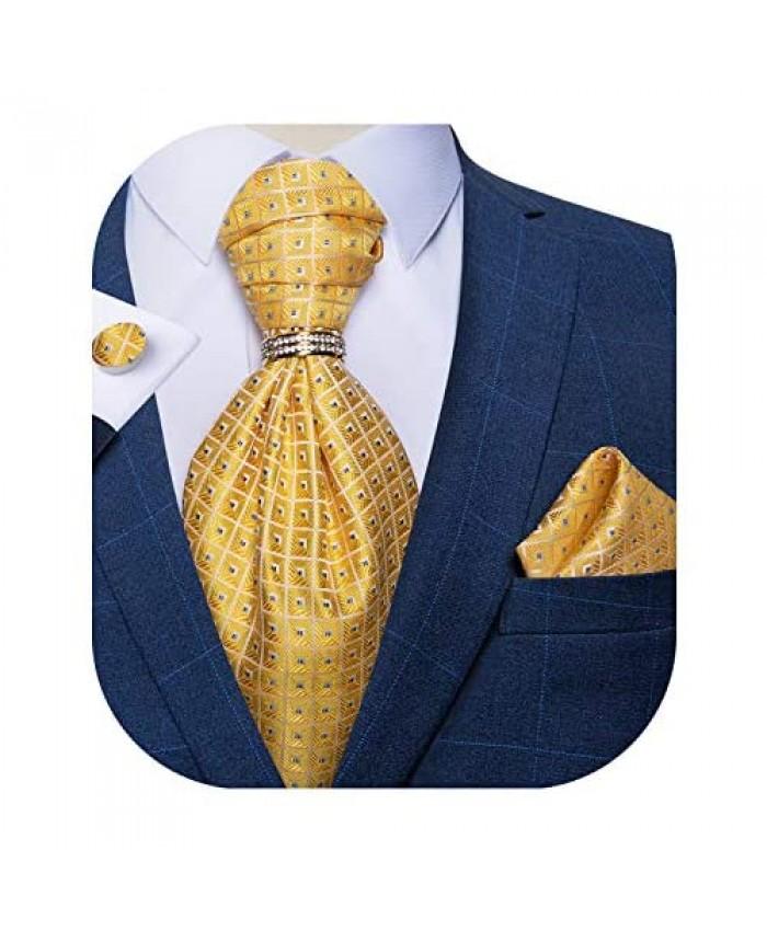 DiBanGu Paisley Cravat for Men 4 PCS Woven Ascot Tie Pocket Square Cufflinks with Tie Ring Set