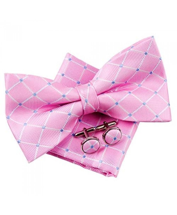 Dots and Check Pattern Woven Pre-tied Bow Tie (5) w/Pocket Square & Cufflinks Gift Set