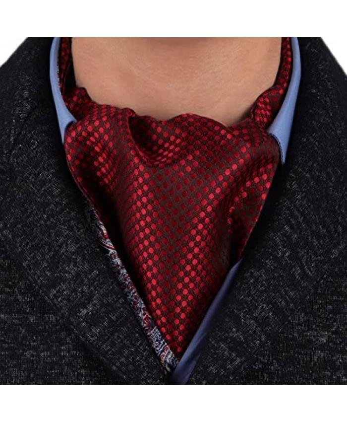 Epoint Men's Fashion Evening Paisley Cravat Silk Ascot Tie Pocket Square Set Selection with Box Set