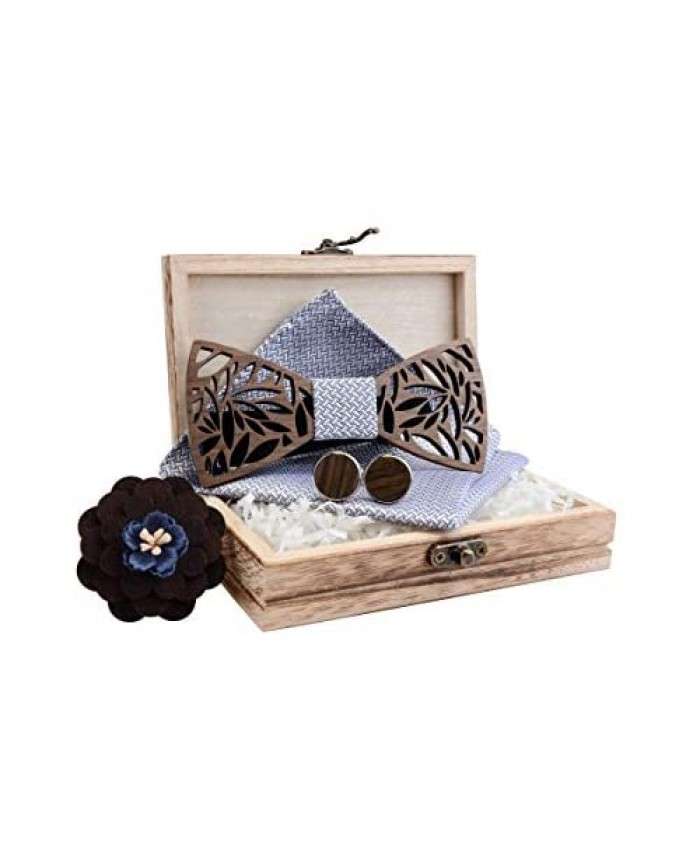 GUSLESON Fashion New Floral Adjustable Wood Bow Tie and Pocket Square Cufflink Brooch Set with Gift Box