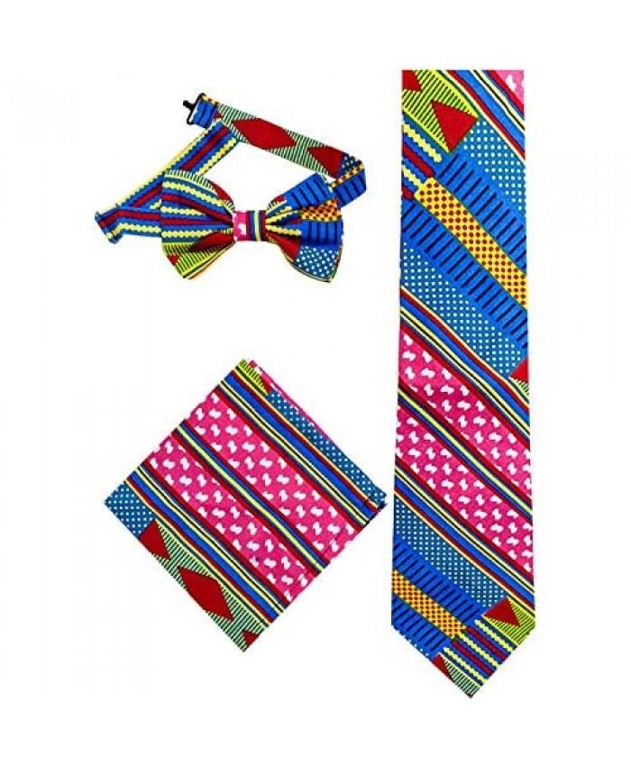 HongyuAmy Unisex Skinny Tie Wax Cotton Necktie African Bow Ties Necktie Set
