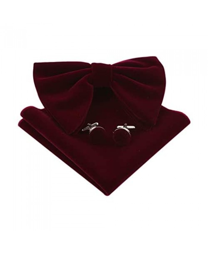 Lovacely Mens Oversized Velvet Bow Tie Vintage Tuxedo Big Bowtie and Pocket Square Cufflinks Set