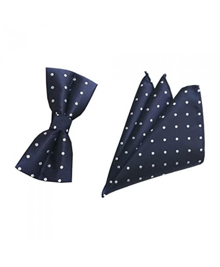Men Big Boys Polka Dot Bow Ties Stripe Check Pre-Tied Bowties Pocket Square Set