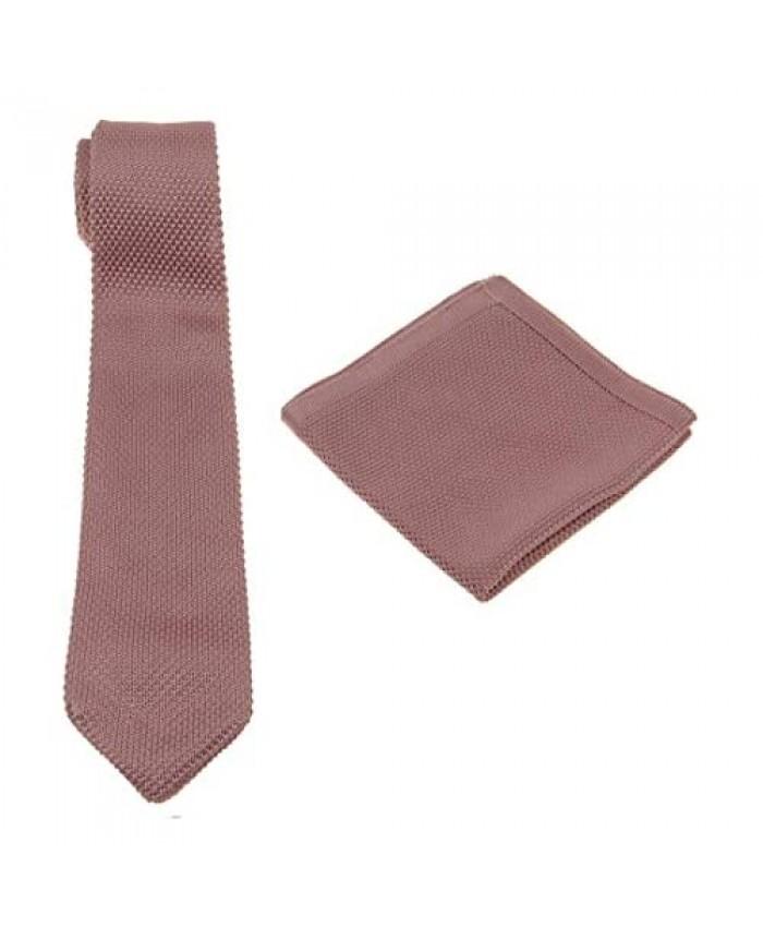 Men Solid Knit Tie Set : Necktie and Pocket Square - Gift Sets
