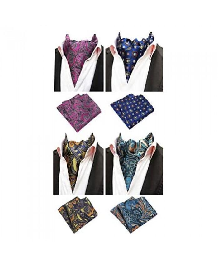 Mens 4 Pcs Wedding Floral Cravat Ascot Scarf Tie Neckties Pocket Square Set of 4