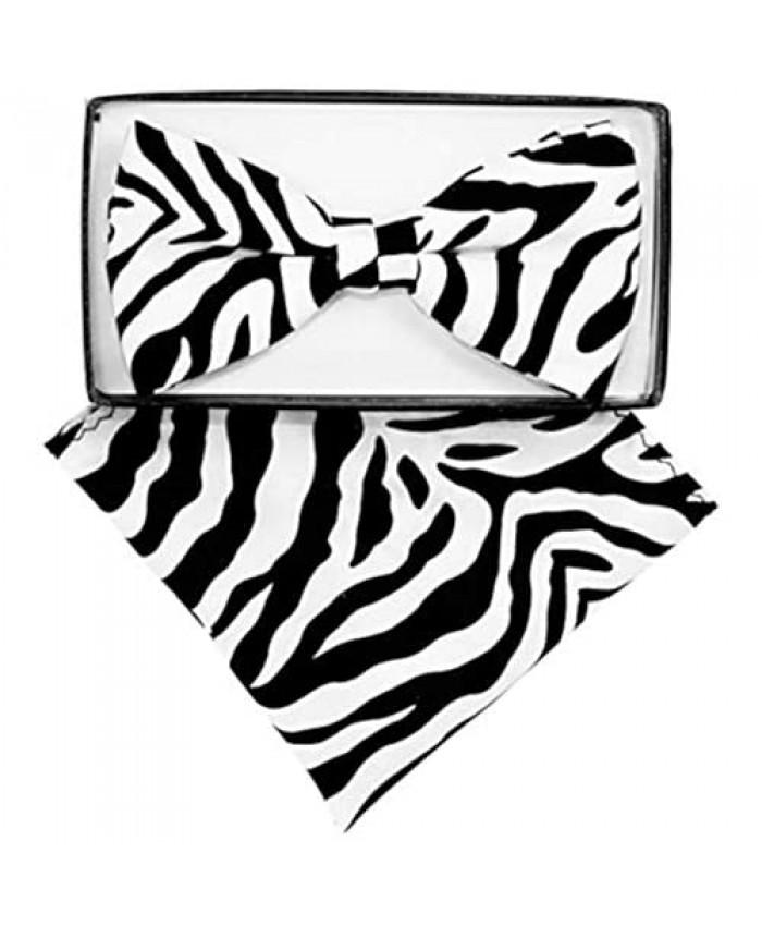 Men's Microfiber Zebra Print Pretied Bow Tie & Pocket Square Hankie Gift Set