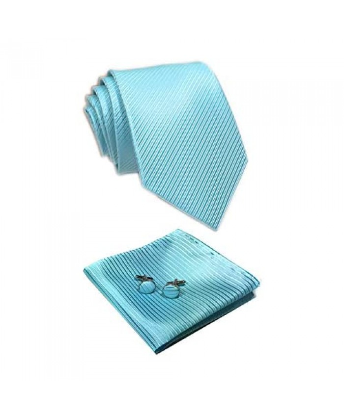 Mens Solid Color Fine Striped Pocket Square Formal Ties Set with Hanky Cufflinks