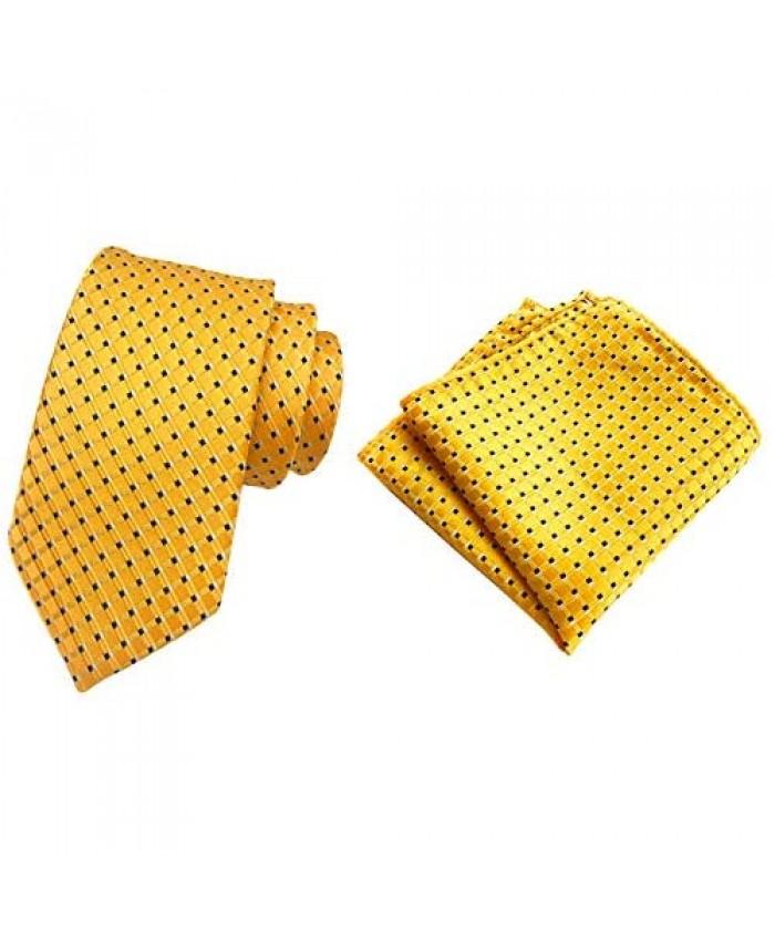 MOHSLEE Mens Gold Paisley Silk Suit Tie Necktie & Handkerchief Pocket Square Set