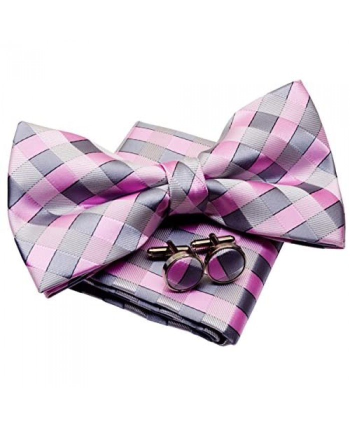 """Retreez Classic Check Woven Pre-tied Bow Tie (5"""") w/Pocket Square & Cufflinks Gift Set"""