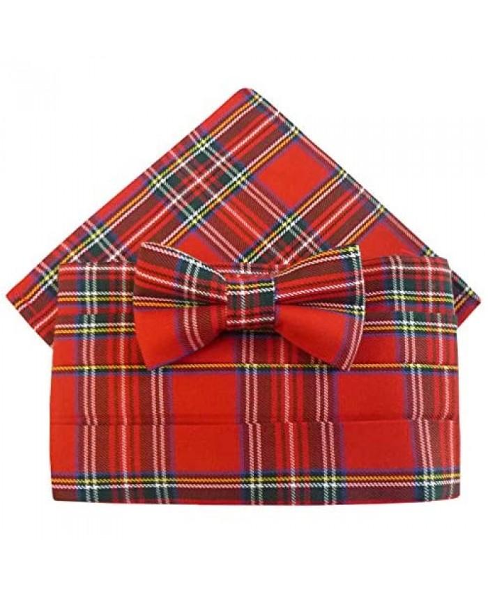 Royal Stewart Tartan Cummerbund Set (includes Bow Tie & Pocket Square)