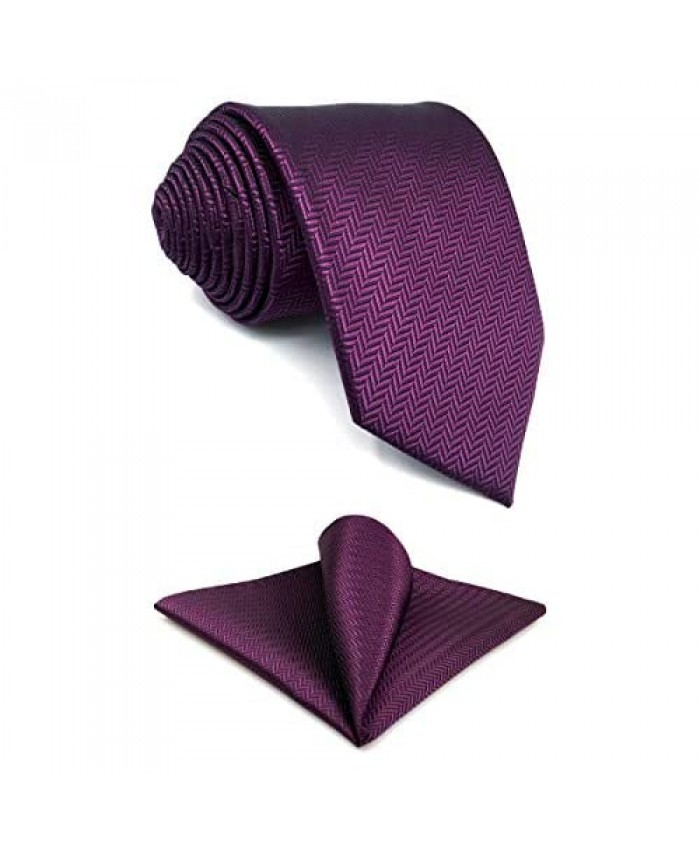 S&W SHLAX&WING Silk Ties for Men Suit Neckties Purple Solid Colors Extra Long