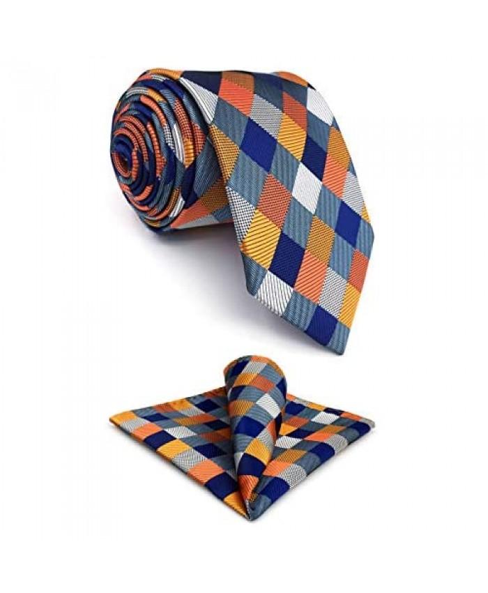 S&W SHLAX&WING Tie Sets for Men Neckties Blue Orange Check