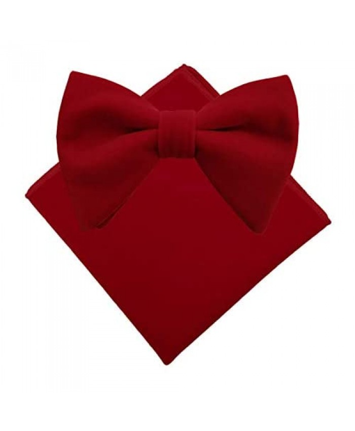 Simpowe Mens Pre-tied Oversized Bow Tie Big Velvet Bowtie and Pocket Square Set