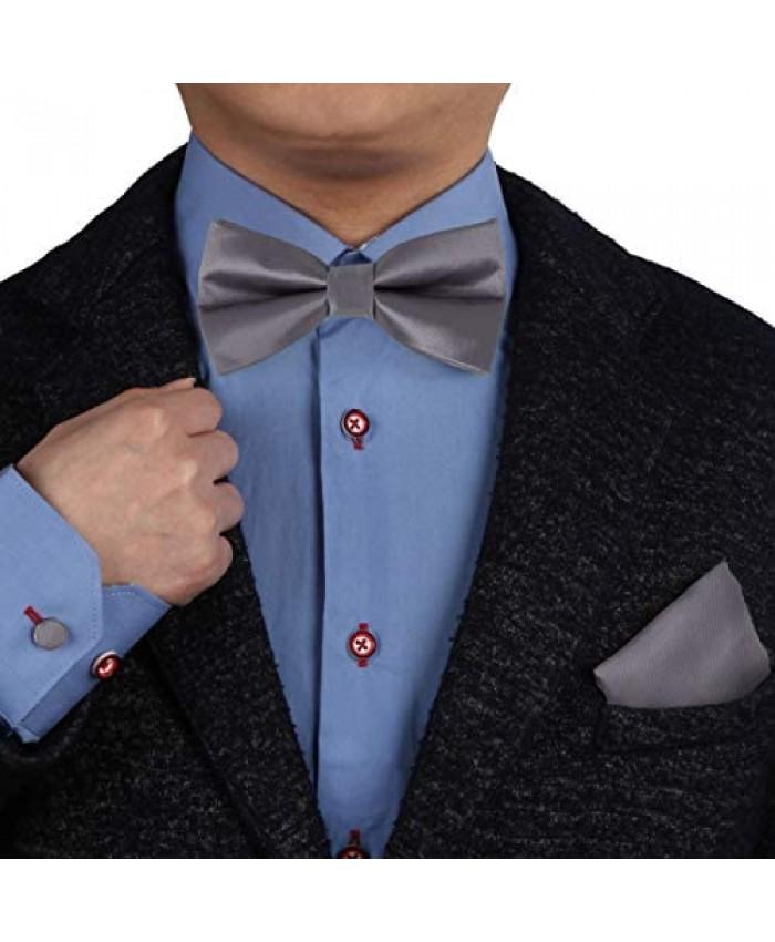 Soild Silk Pre-tied Bowtie Cufflinks Handky Set Epoint Men's Fashion