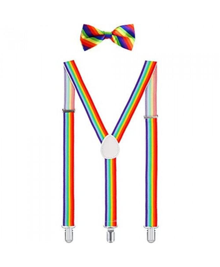 Suspender Bow Tie Set Clip On Y Shape Adjustable Braces Pant Suspenders Shoulder Straps for Cosplay Party (Light Rainbow)