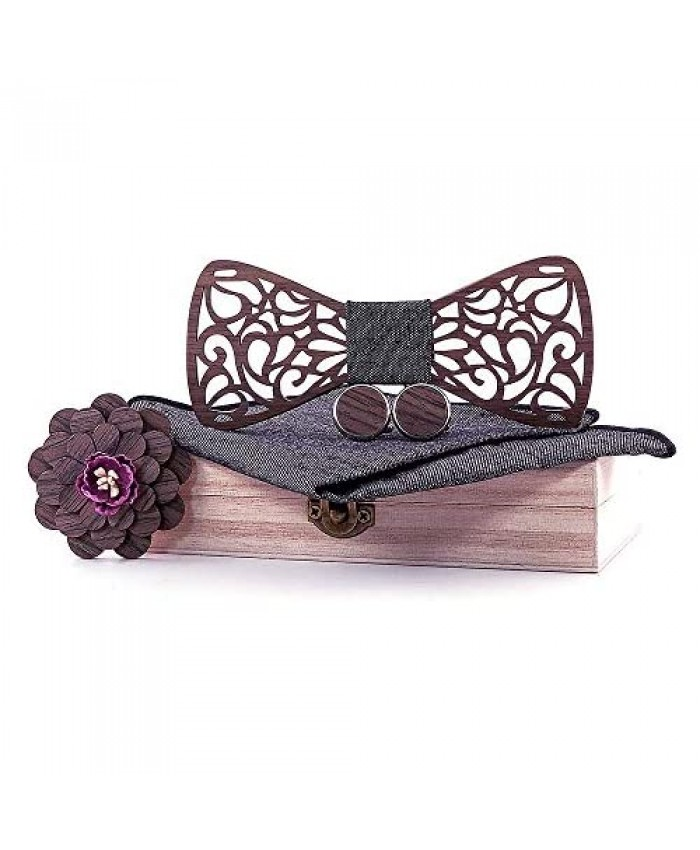 Wooden Bow tie Mahoosive Ties for Mens Necktie Set Wood bowtie With Cufflinks Pocket square Lapel Flower Wedding