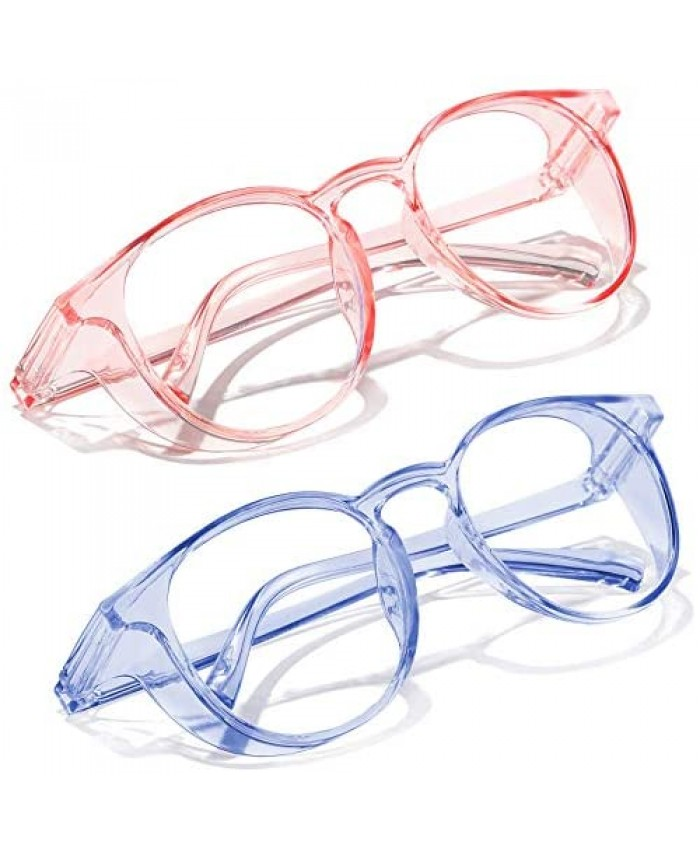 Safety Glasses Anti Fog Round Clear Safety Goggles Scratch Resistant with Blue Light Blocking Glasses for Women Men