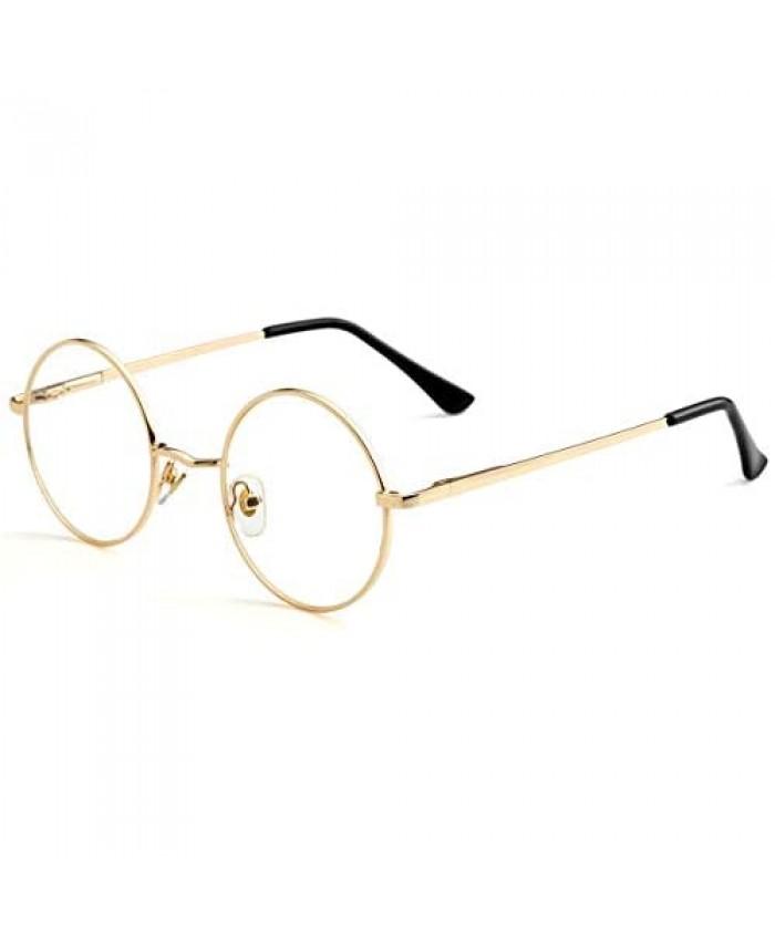 Small Round Clear Lens Glasses Non Prescription Circle Metal Frame Eyewear