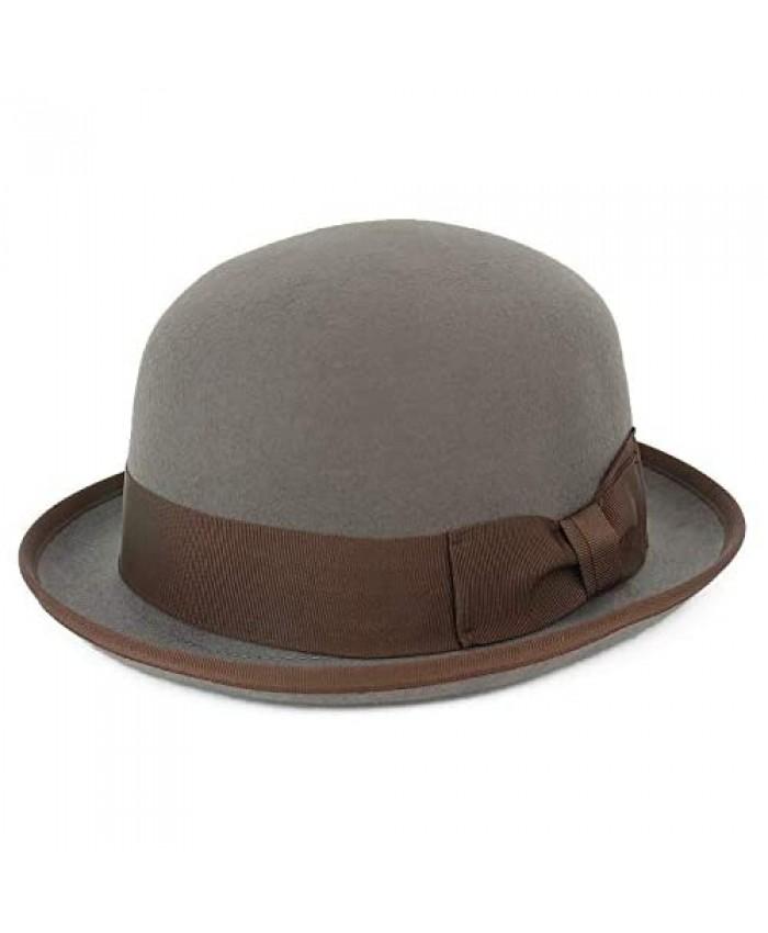 Armycrew Men's 100% Wool Felt Bowler Hat with Grosgrain Ribbon Band