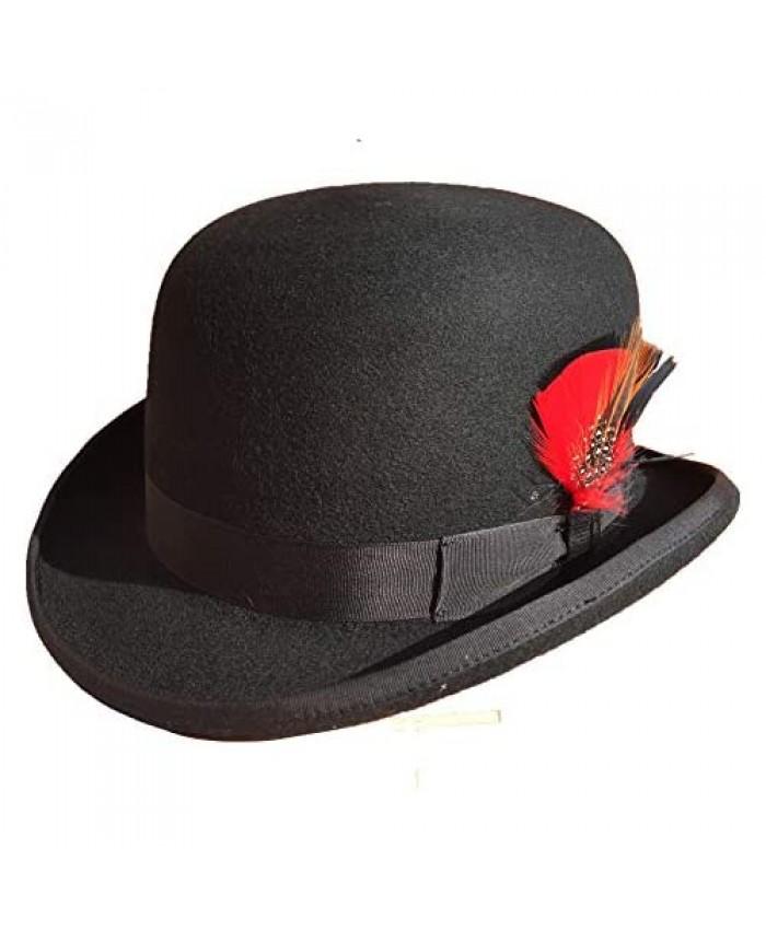 Derby Hat Black Wool Felt Bowler Hat for Men Women