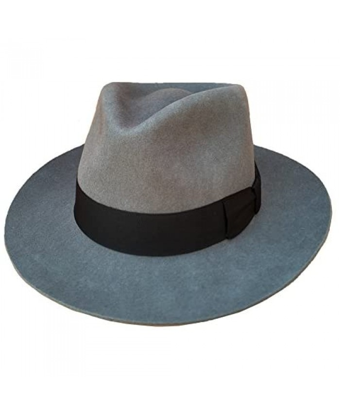 Gray Men's Wool Felt Fedora Hat Gangsters Traditional Godfather Mafia Cap