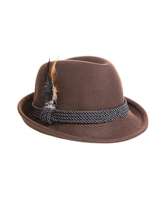 Holiday Oktoberfest Wool Bavarian Alpine Hat - Brown Color - Size Extra Extra Large (XXL)