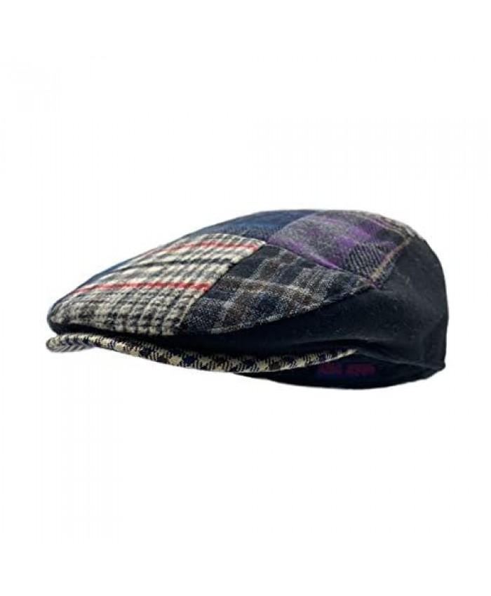 DAIDEM Multi Pattern Patchwork Wool Blend Gatsby Newsboy Ivy Hat Herringbone Golf Cap