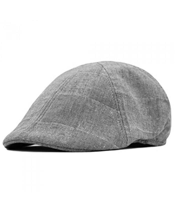 Deewang Men's Thick Newsboy Wool Cap Winter Duckbill Plain Ivy Pub Hat Cozy Everyday Golf Cap