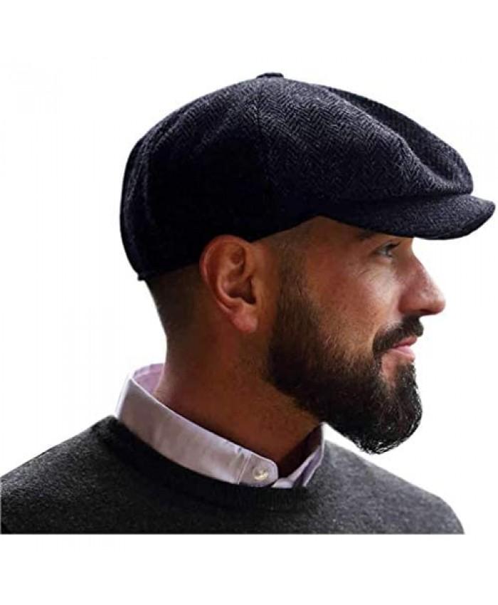 Irish Tweed Newsboy Cap for Men Made in Ireland Classic Gray Herringbone Pattern