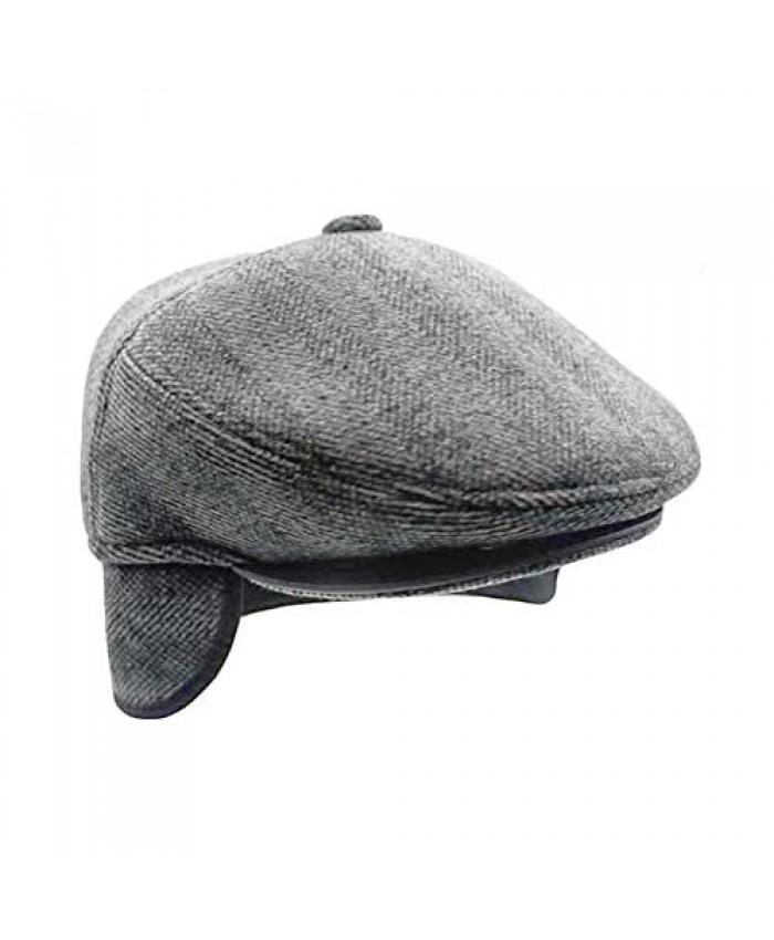 YAKER Men's Irish Berets Polyester Wool Velvet Flatcap Ivy Gatsby Newsboy Hunting Hat Gatsby Driver Caps Earflap Hat