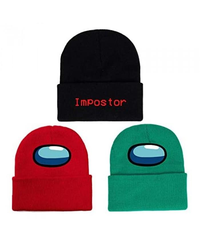 3 Pack Among Us Winter Beanie Hat for Women Men Warm Knitted Imposter Skull Cap