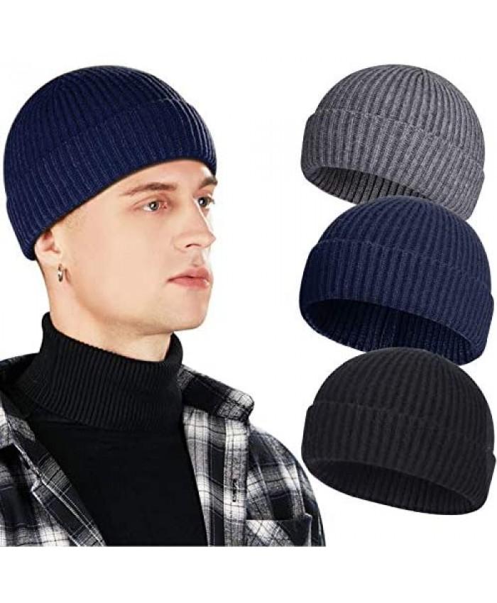 3 Pack Wool Fisherman Beanies for Men Short Knit Watch Cap Cuffed Trawler Hats