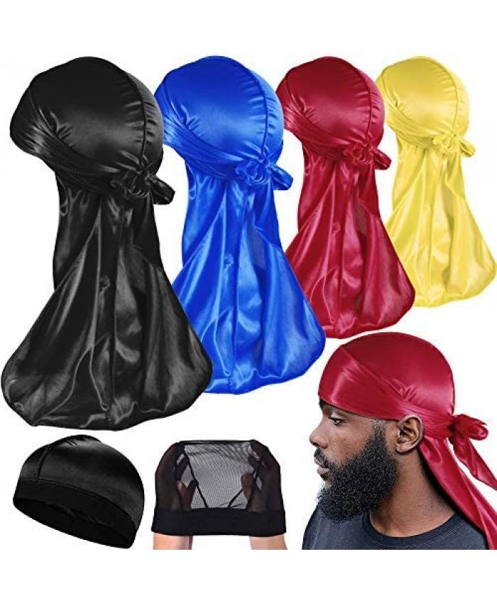 6 Packs Durags for Men Women Waves Silky Satin Doo Rag(4 Solid Color Durag 1 Wave Cap 1 Mesh Cap)