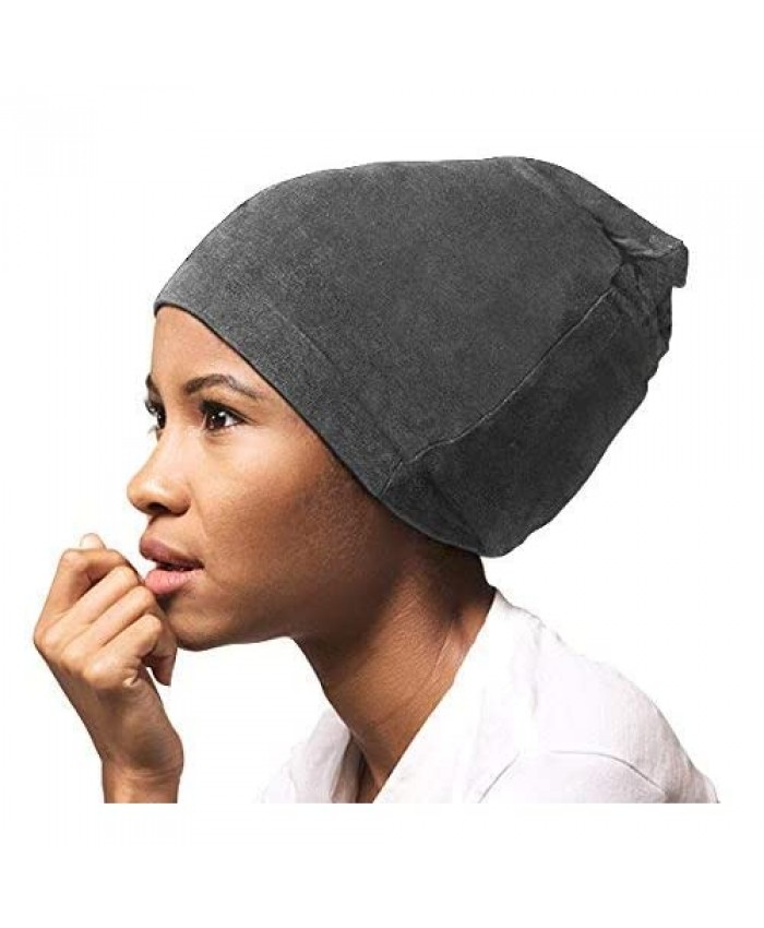 ADAMA Satin Lined Jersey Beanie Ultra Soft Fashionable Hipster Chic Satin Lining Prevents Breakage and Tangling Day and Night Hair Defense Gray Standard