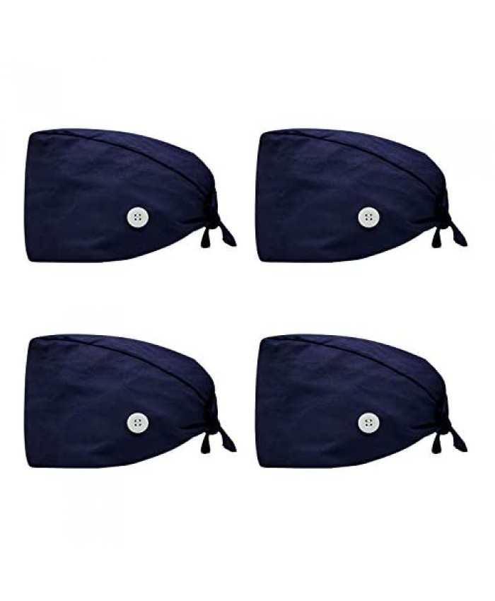 AMOCO 4pcs Scrub Caps Working Cap with Buttons and Sweatband Adjustable Tie One Size Working Hats Suit for Men and Women Navy