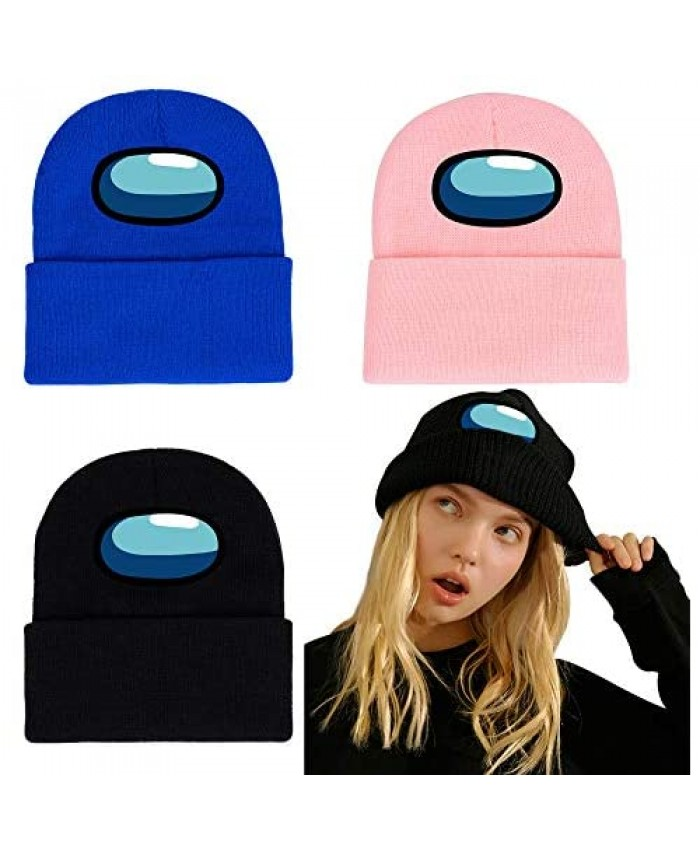 Among-Us Beanie Hat 3 Pack Rib Knit Beanie Warm Winter Ribbed Knit Cap Impostor Fashion Trend Classic for Men Women and Kids