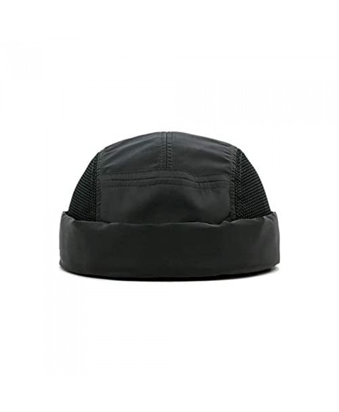 Croogo Quick Dry Brimless Hats Mesh Beanie Docker Cap Casual 5 Panel Skullcap Rolled Cuff Breathable Watch Caps Sailor Hat