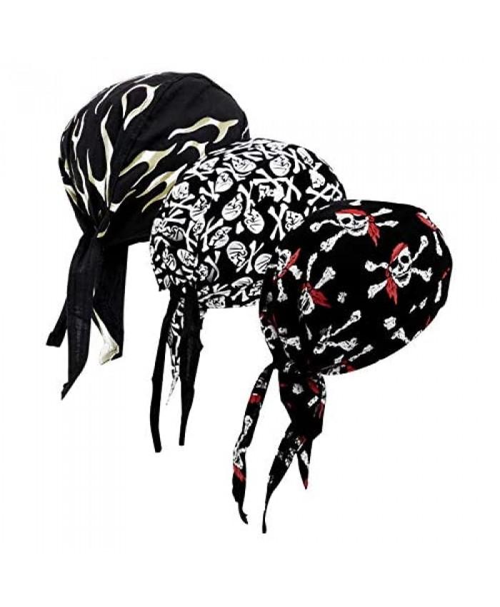 DOCILA 3 Pcs Do Rags for Men Skull Cap Bandana Hat Breathable Helmet Linner Beanie