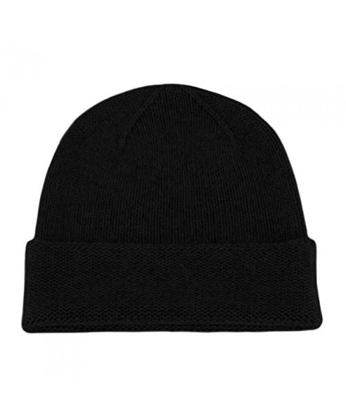 Love Cashmere Men's 100% Cashmere Beanie Hat - Black - Hand Made in Scotland