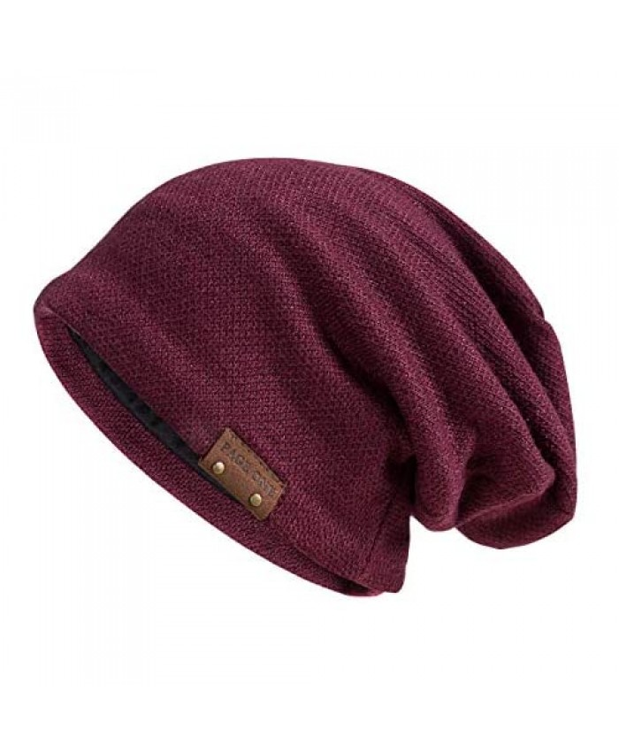 PAGE ONE Mens Slouchy Beanie Winter Warm Comfortable Cozy Skull Cap Chunky Baggy Oversized Hat