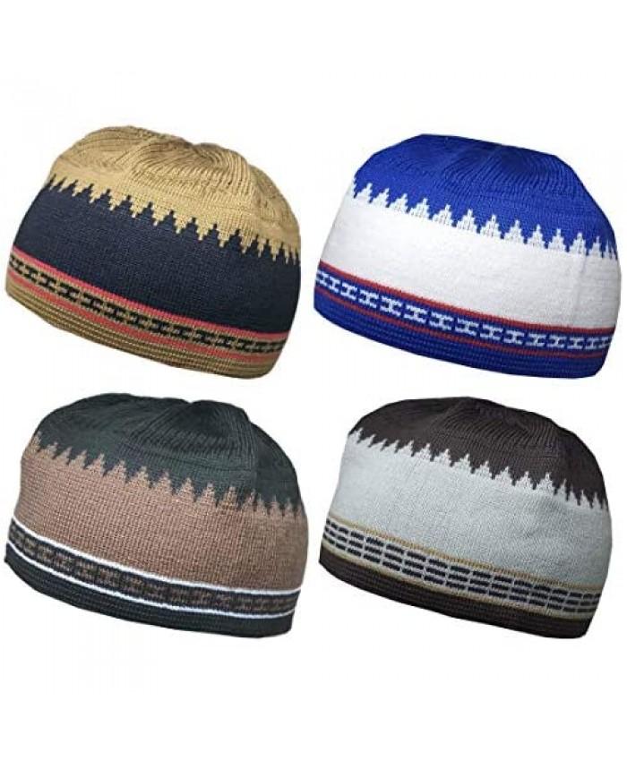 Set 4 Kufi Hat for Men Muslim AMN-225 Beanie Skull Cap Islam Taqiyah Takke Gift