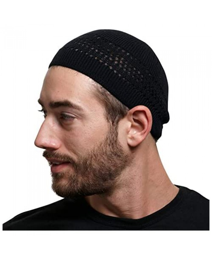 SnugZero - 100% Cotton Lattice-Knit Skull Cap Beanie Kufi | Solid Colors and Cool Designs for Everyday Wear