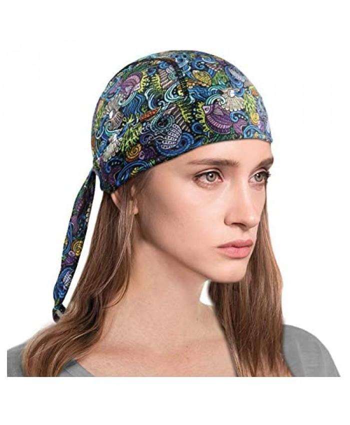 Sweat Wicking Skull Cap Beanie Quick Dry Breathable Stretch Adjustable Bandana Head Sun Hat for Men Women