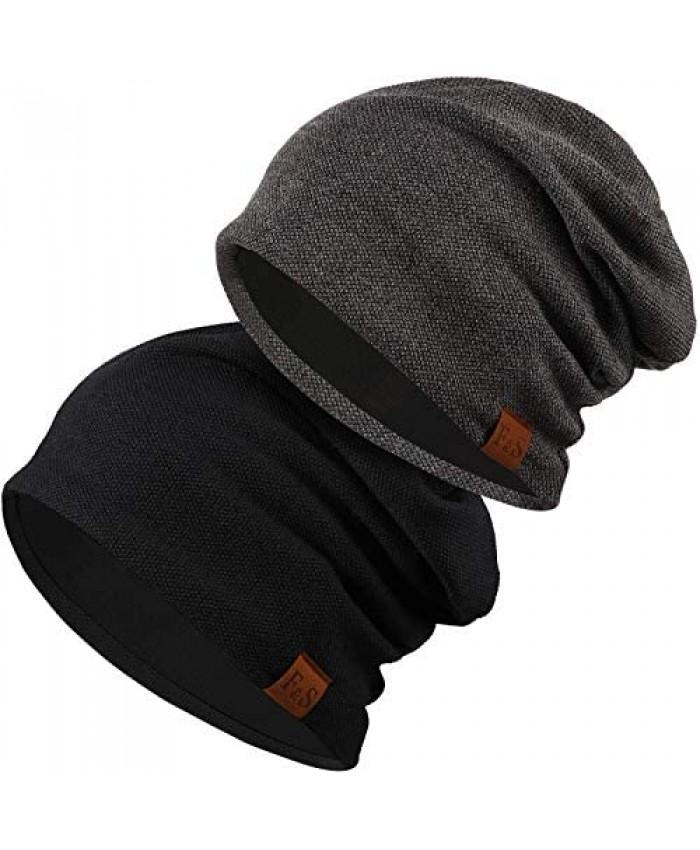 Syhood 2 Pieces Slouchy Knit Beanie Hat Winter Warm Oversized Skull Cap for Men Women