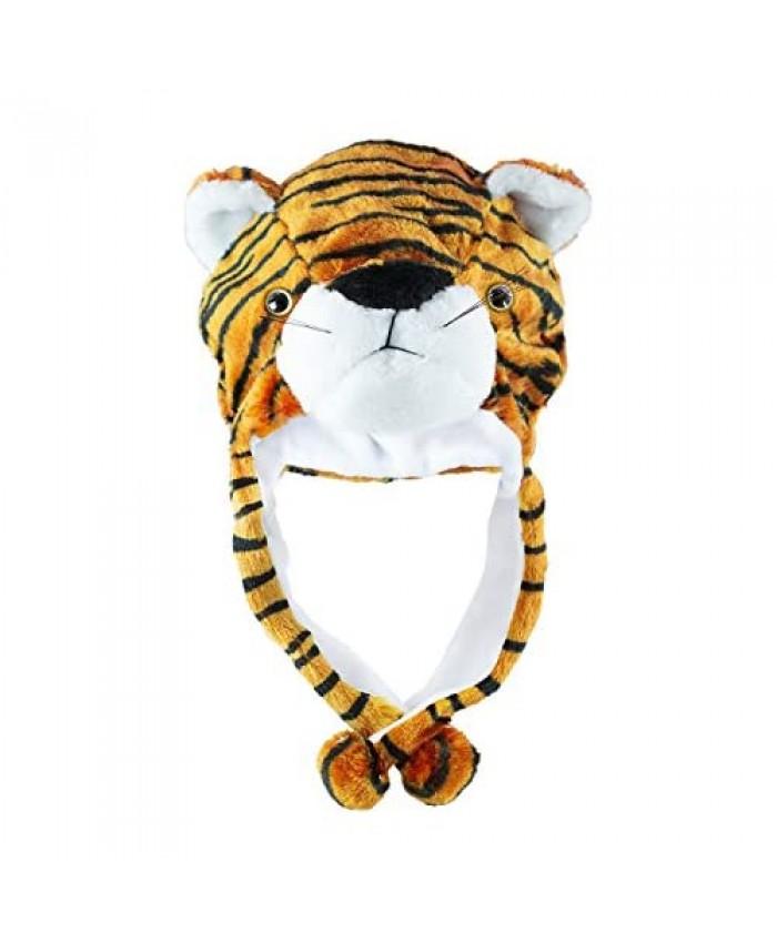 Tiger Cute Plush Animal Winter Ski Hat Beanie Aviator Style Winter (Short)