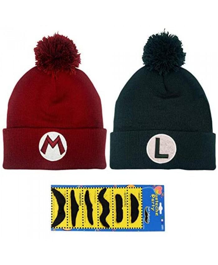 TISOSO Super Mario Bros Luigi Cap Winter Knitted Beanie Hat Skull Cap Beanie Holiday Christmas Hat for Women Men (Red Green)