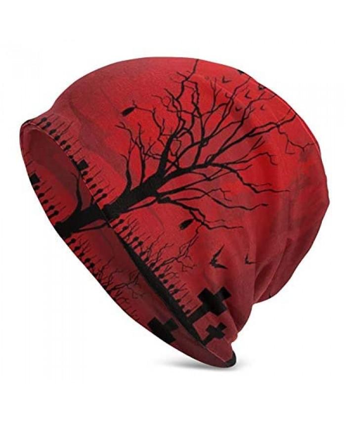 Unisex Beanie Caps Gothic Scary Halloween Dark Red Night Knit Hat Skull Cap Winter Summer Warm Womens Mens Hats